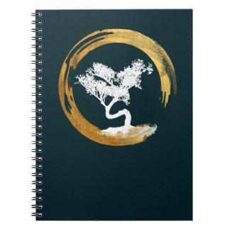 Bonsai Tree. Zen Enso Circle. Feng Shui Calligraph Notebook