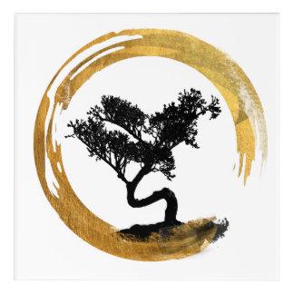 Bonsai Tree. Zen Enso Circle. Watercolor Art