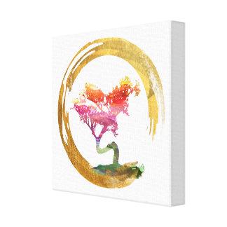 Bonsai Tree. Zen Enso Circle. Watercolor Art Canvas Print