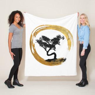 Bonsai Tree. Zen Enso Circle. Watercolor Art Fleece Blanket
