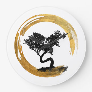 Bonsai Tree. Zen Enso Circle. Watercolor Art Large Clock