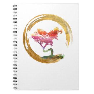 Bonsai Tree. Zen Enso Circle. Watercolor Art Spiral Notebook