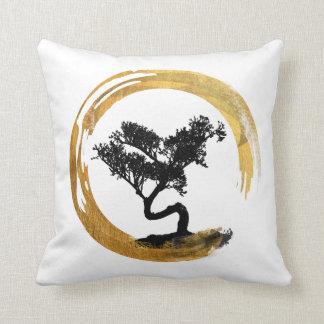 Bonsai Tree. Zen Enso Circle. Watercolor Art Throw Pillow