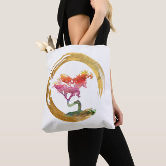 Bonsai Tree. Zen Enso Circle. Watercolor Art Tote Bag