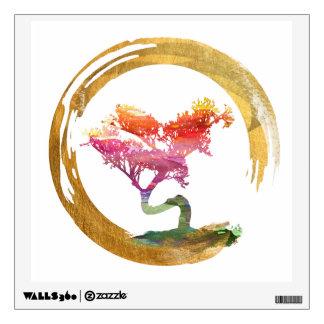 Bonsai Tree. Zen Enso Circle. Watercolor Art Wall Sticker