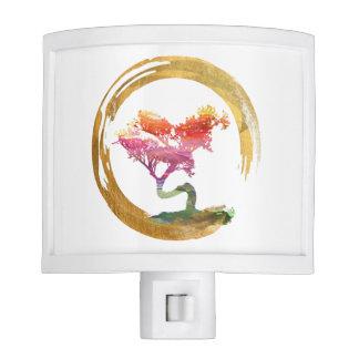 Bonsai Tree. Zen Enso Circle Watercolor Feng Shui Nite Lights
