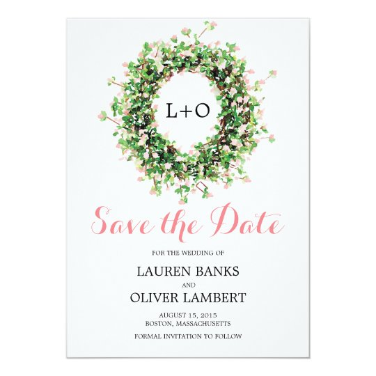 Bontanial Pink Flower Wreath | Save the Date Card
