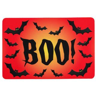 BOO! Bats on Red Floor Mat