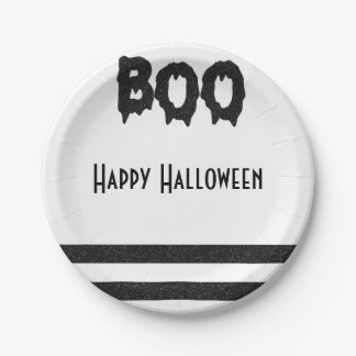 Boo black and white Halloween Plate
