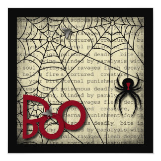 Boo Black Widow Spider & Creepy Text for Halloween Card