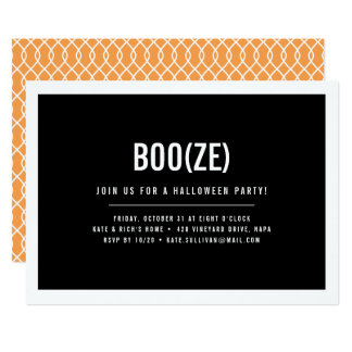 Boo & Booze Modern Halloween Party Invitation