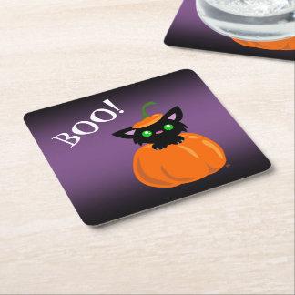 BOO! Cat in a Pumpkin Halloween Paper Coasters