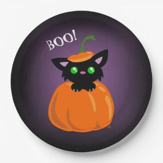 BOO! Cat in a Pumpkin Halloween Paper Plate