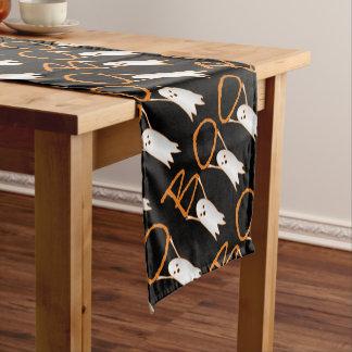 Boo! cute ghosts modern black, orange Halloween Short Table Runner