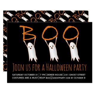 Boo cute ghosts modern Halloween party Card