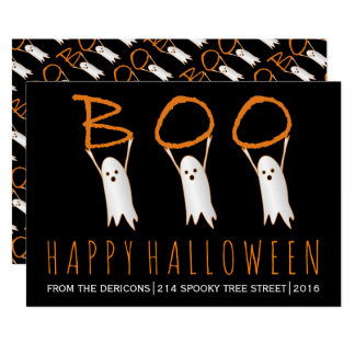 Boo! cute ghosts modern Happy Halloween Card