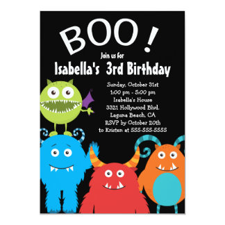 Boo Cute Monsters Kids Birthday Party Invitation