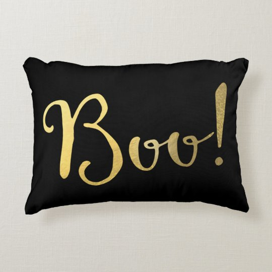 BOO! Faux Gold Look Halloween Festive Fall Decorative Pillow