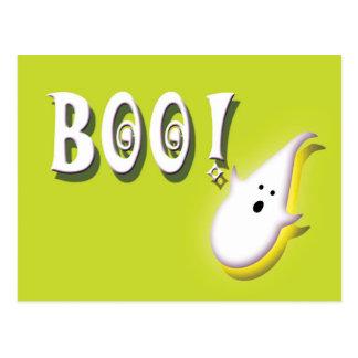 Boo! Halloween ghost lime green Postcard
