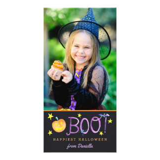 BOO | Halloween Photo Card | Dark