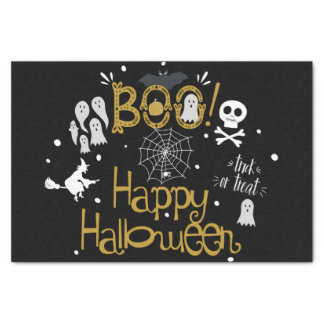 Boo Happy Halloween Whimsical Custom Gift Wrap Tissue Paper