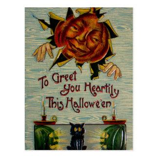Boo! Jack O Lantern Pumpkin Black Cat Postcard
