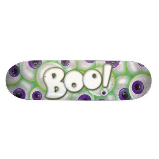 Boo Lettering on Freaky Purple Glowing Eyeballs Skateboard Deck