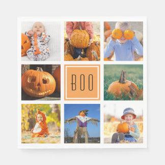 Boo Modern Halloween Photo Collage Disposable Napkin