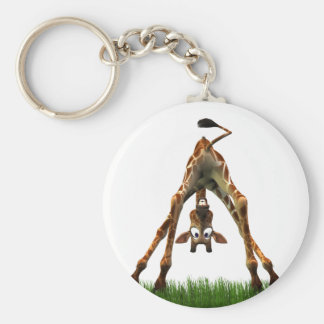 Boo! Says Olympia Giraffe. Basic Round Button Keychain