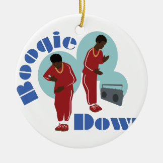 Boogie Down Boys Round Ceramic Ornament