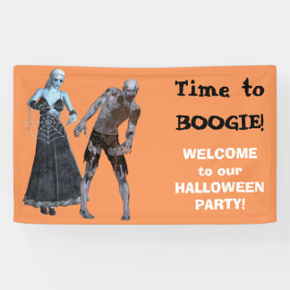 Boogie Zombie Witch Halloween Party Banner