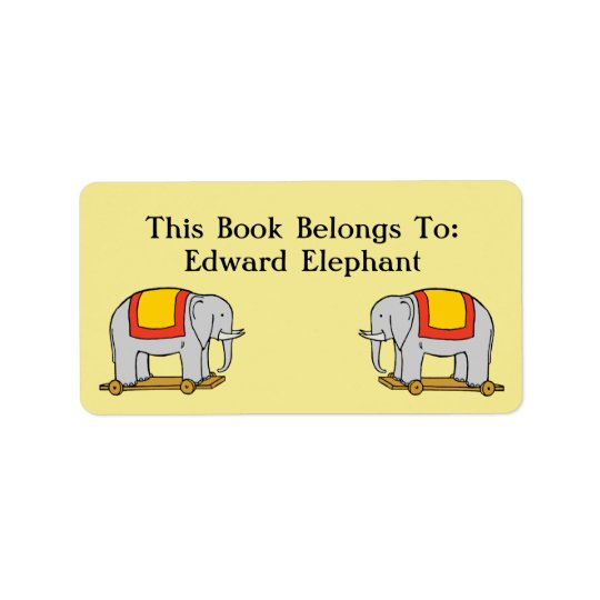 Book Belongs To Custom Vintage Toy Elephant Label