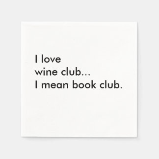 Book Club Cocktail Napkins - I love wine club Disposable Napkins