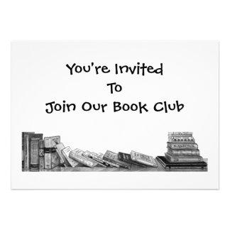 BOOK CLUB INVITATION PENCIL DRAWING BOOKS