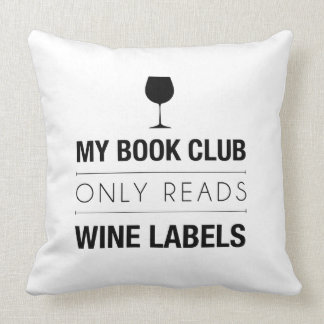 Book Club Reads Wine Labels Pillow