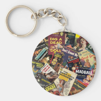 Book Cover Montage Basic Round Button Keychain