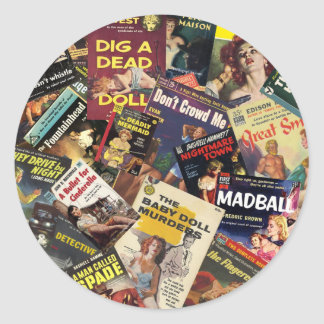 Book Cover Montage Classic Round Sticker