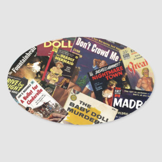 Book Cover Montage Oval Sticker