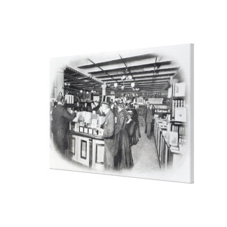 Book Department at an Army and Navy store Stretched Canvas Print