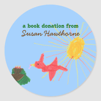 Book donation sticker - bird