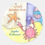 Book donation sticker - ocean