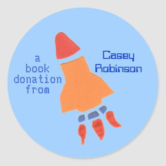 Book donation sticker - rocket