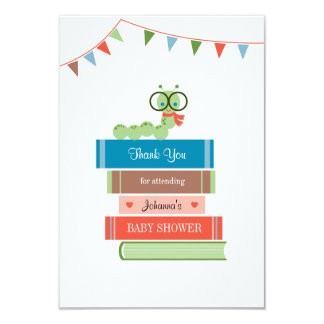 """Book for Baby Shower Thank You Card 3.5"""" X 5"""" Invitation Card"""