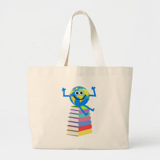 Book Globe Large Tote Bag