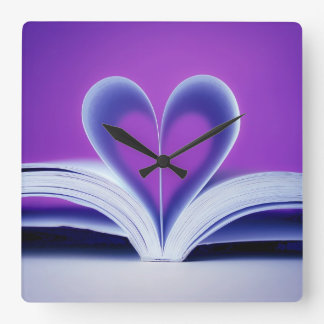 Book Heart Photography Square Wall Clock