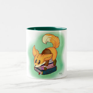 Book it fox Two-Tone coffee mug