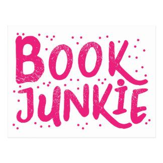 book junkie in pink postcard