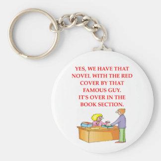 book lover basic round button keychain