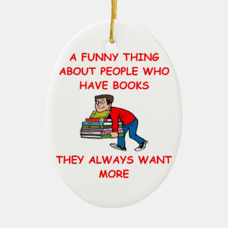 book lover ceramic ornament