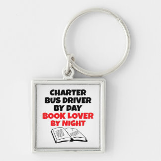 Book Lover Charter Bus Driver Silver-Colored Square Keychain
